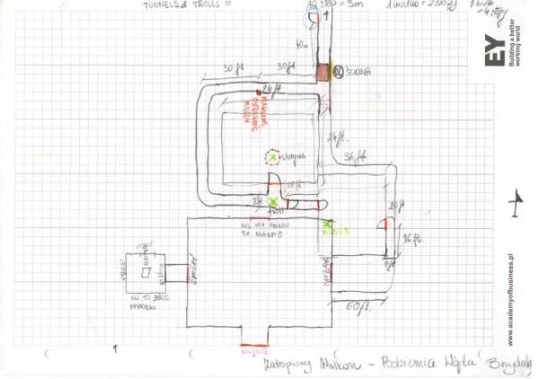 Mapka narysowana przezgraczy podczas sesji